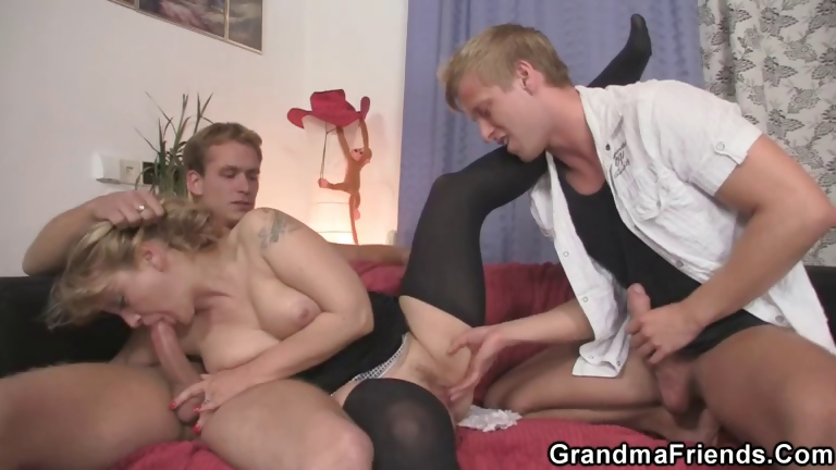 Porno Video of Old Bitch Takes Two Stiff Cocks At Once