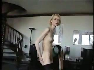 Porn Tube of Way Too Skinny Girl Is Showing Off Her Bony Body On Webcam