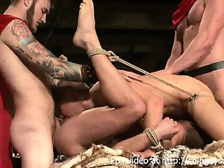 4 Gladiators in bdsm orgy