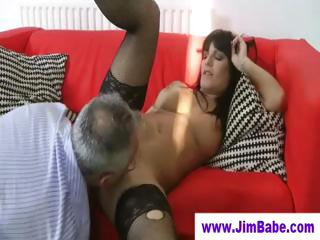 Porno Video of Babe In Stockings Licked By Old Man