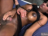 Seductive shemale Jennifer Rios gets rimmed and anal fucked