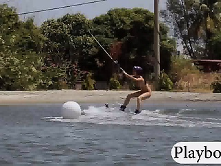 Three horny girls with big boobs try out wake boarding