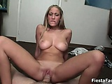 Busty blonde babe gets horny jerking part3