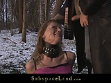 Sever dominant male torments his slave outside in the cold