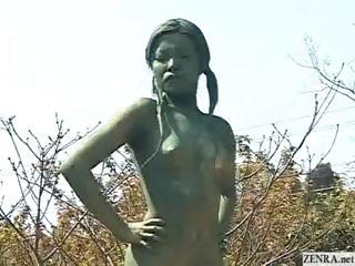 Porno Video of A Living Nude Female Japanese Garden Statue
