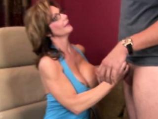 Horny busty mature handjob milf jerking
