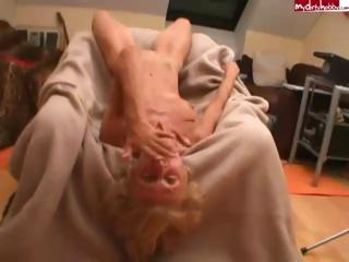 Porn Tube of Skinny Blonde Granny Gets Fucked And Sucks On His Hard Cock