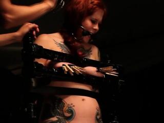 Ginger bdsm lesbian tied up sub punished