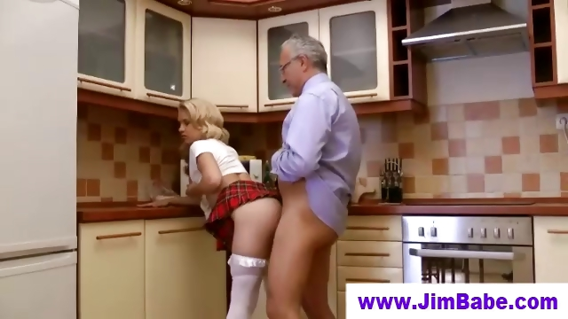 Porn Tube of Old Man Fucks Blonde In Short Skirt