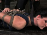Tied up hot mature sub fingered on floor