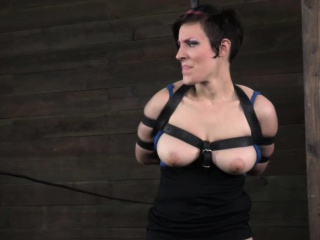 Arm binded bdsm sub whipped by male dom