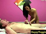 Asian masseuse massage cock