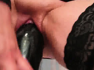 Only the biggest dildos can satisfy her insatiable hole