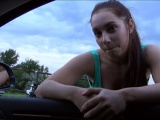 Horny teen hitchhiker gets naked and fucked hard in public