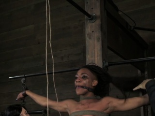 Tied up ebony bdsm slave Nikki Darling tormented
