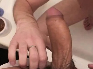 Tricky gay voyeur gets a nice head in the shower
