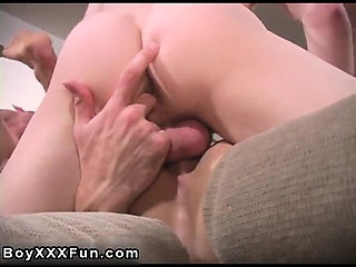 Twink movie of 3 wild men kiss and pull each others clothes