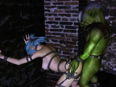 Tied up 3D elf babe getting fucked hard by an orc