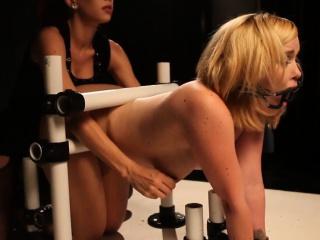 Lezdom bdsm sub undergoes bondage spank