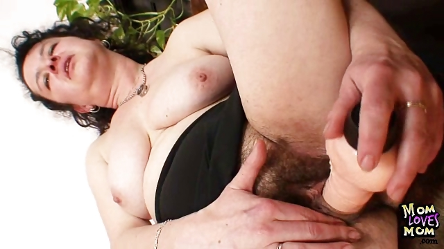 Porno Video of Mature Mom Hedvika Hairy Pussy Dildo Drilling