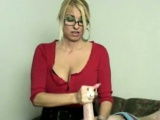 Handjob loving bimbo mature tugging lucky dude