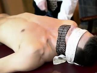 Teen Mormon boy with older gay dude in office