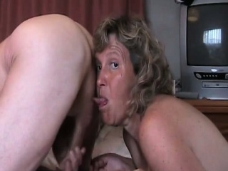 Granny licking balls and dick while dude jerks...