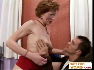 Porno Video of Old Brunette Granny Talks Her Way Into His Office To Fuck Him