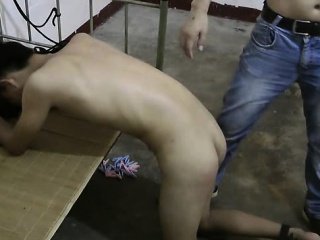 Cute Asian Boy Slave Naked Ass Spanking