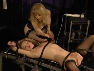 Porn Tube of Stockinged Blondie Getting Drilled By A Huge Fucking Machine