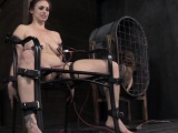 Restrained sub gets nipples zapped