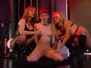 Porn Tube of Two Dominant Bitches Using A Nerdy Rookie The Way They Please