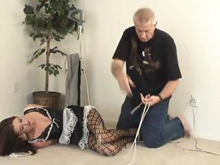 Porn Tube of Brunette Maid Gets Hogtied And Left For Whatever He Wants
