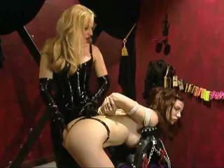 Porn Tube of Dark-haired Bitch Gets Tied To The Cross And Tortured By Her Blond Mistress
