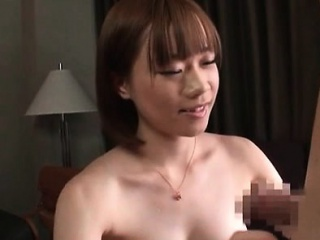 Asian naked hottie teasing horny shaft and slurping its cum