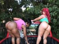 Great bum ebony duo performing a nasty car wash outdoor | Pornstar Video Updates
