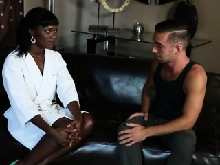 Sexy Ebony Ana Foxx gives Logan Pierce a good massage