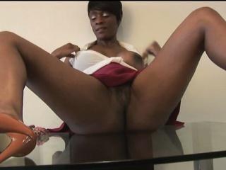Busty mature ebony beauty teasing as she cleans