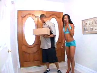 Petite Ebony Fucks Sexy Delivery Man