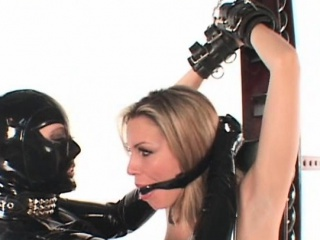 Blonde BDSM lesbo sex slave pussy masturbated in chains