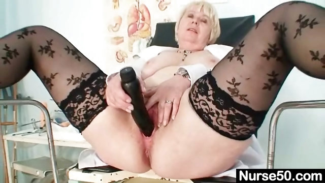 Porn Tube of Big Tits Old Lady In Uniform Fingers Hairy Pussy