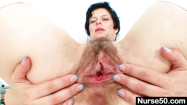 Porno Video of Busty Mature Lady Barbora Spreads Hairy Pussy