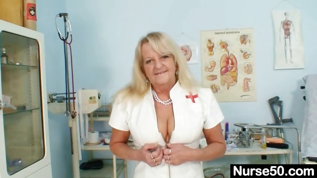 Porno Video of Grandma In Uniform Spreads Blond Hairy Pussy