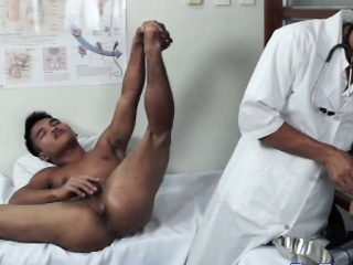 Little twink doctor giving a mild enema