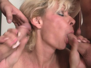 Horny blonde granny double penetration...