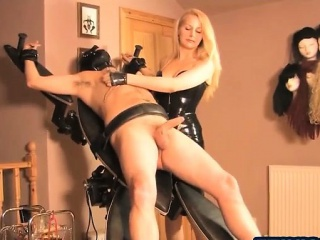 Masochist Blonde With Two Latex...