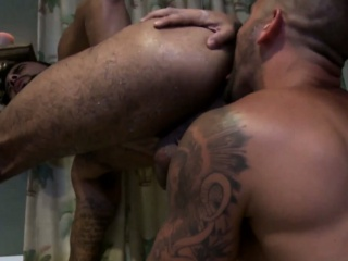 Gay tattooed mature hunks bathtime fun