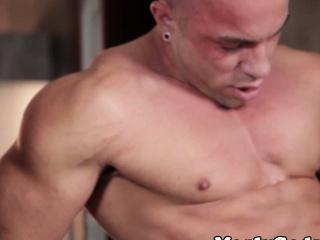 Muscular gay hunks fucking and masturbating