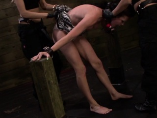 Nippleclamped lesbian strapon sub face fucked by rough lesbi