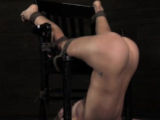 Wall tied up bdsm sub Cherie DeVille caned
